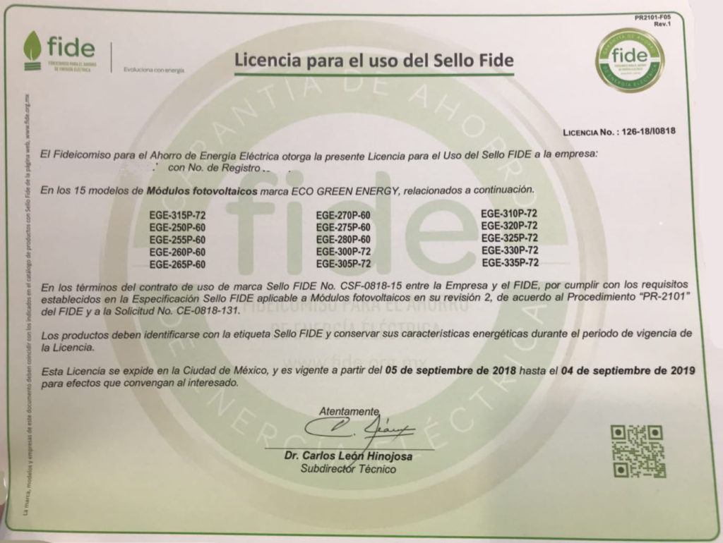 Fide Certification Achieved For Eco Green Energy Pv Modules