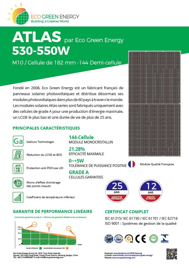 fiche technique Eco Green Energy Atlas 540 Wc